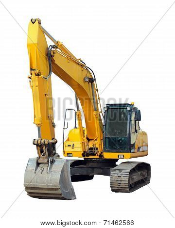 Modern Excavator Isolated On The White