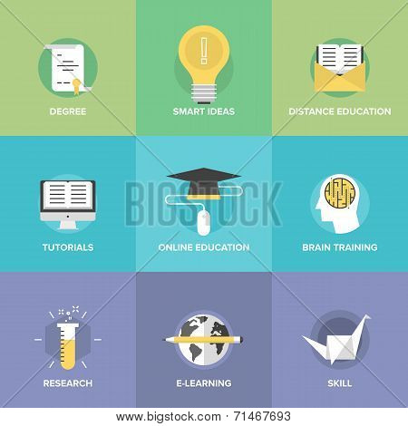 Online Education Flat Icons Set