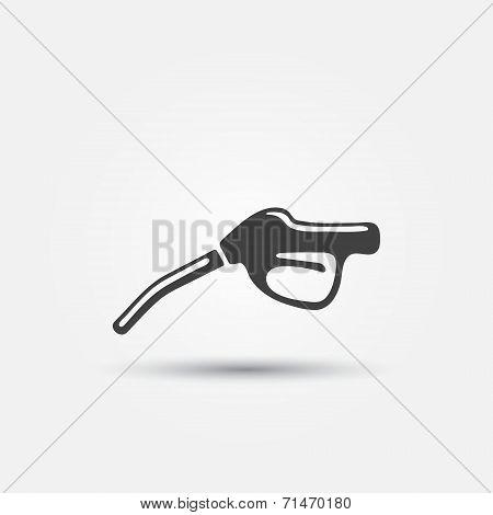 Fuel gun (pump) vector icon - gasoline fuel nozzle simple symbol poster