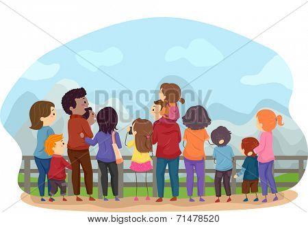 Back View Illustration Featuring Families Enjoying the Scenery