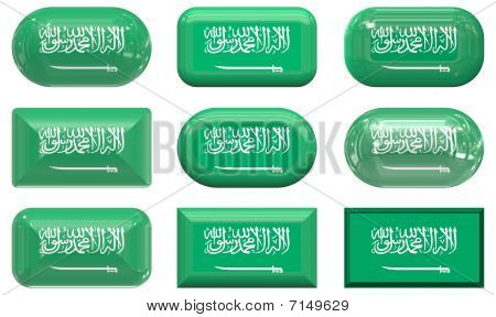 Nine Glass Buttons Of The Flag Of Saudia Arabia