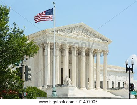 United States Supreme Court With Flag