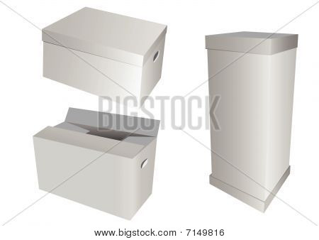 Set of 3d cardboard boxes, isolated on white background