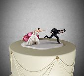 Funny Escape from marriage concept over a cake poster