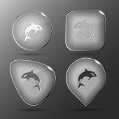 Killer whale. Glass buttons. Raster illustration. poster