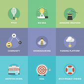 Crowd funding service investing platform for innovation project creative development of small business startup model and community ideas. Flat design icons set modern vector illustration concept. poster