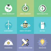 Flat icons set of natural renewable and clean energy green technology innovation and chemistry bio fuel and waste reduction efficiency. Modern design style vector illustration concept. poster