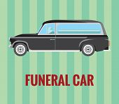 Vector resizable drawing of a hearse (funeral car) with a driver and a coffin. Car,typo and background are all in different layers. poster