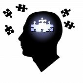 Puzzle pieces inside and outside of a man's head. poster