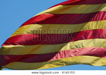 Catalan Flag Waving On The Wind