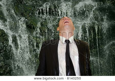 business man concept image back to nature waterfall cleanse poster