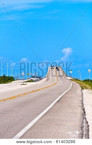 KEY WEST, USA - JULY 7, 2014: bridge in the Florida Keys under blue sky