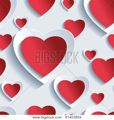 Valentine's Day Seamless Pattern, 3D Hearts