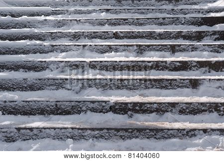 Snow covered stair case composition