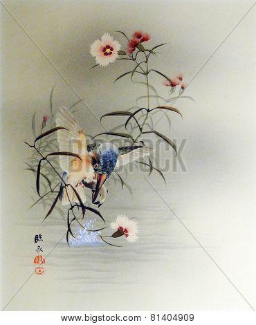 Vintage Japanese Print - Bird Catching Fish