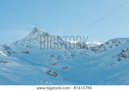 Alpine Alps mountain landscape at Soelden. Beautiful winter view on sunny day.