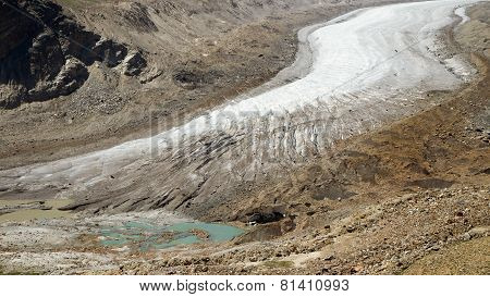 Glacier And The Birth Of The Lake In Mountains