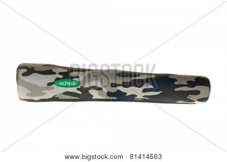 Hayward, CA - January 26, 2015: Olivon camouflaged rifle scope neoprene cover, isolated on white