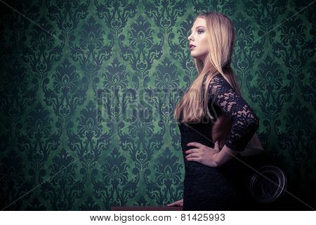 Woman In Black Dress Vintage Toning