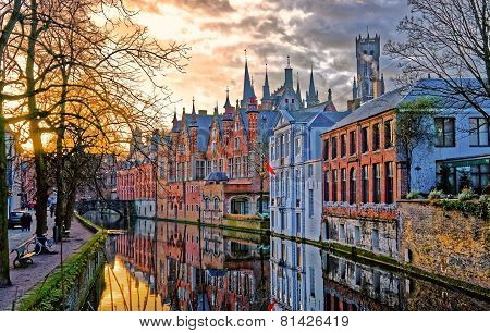 Canals Of Bruges, Belgium