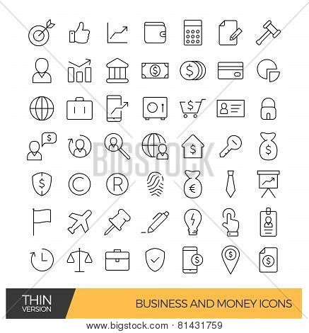 Business and money thin line icons