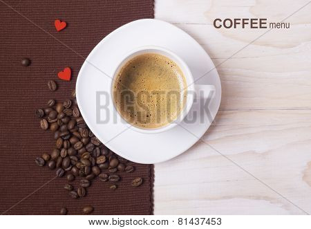 Coffee Menu Background.white Cup And Beans