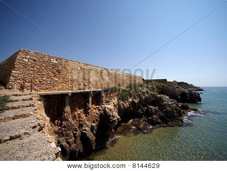 Coastal Wall Roman Fort In Tarragona, Spain