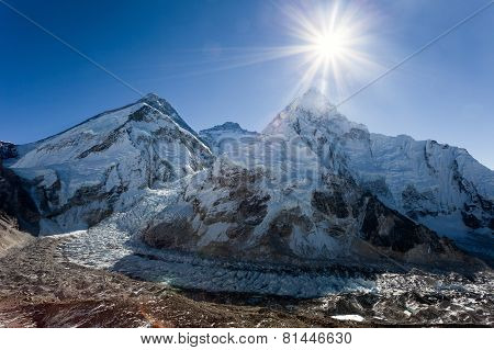 Morning Sun Above Mount Everest, Lhotse And Nuptse