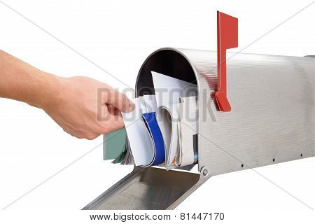 Person Taking Letter From Mailbox