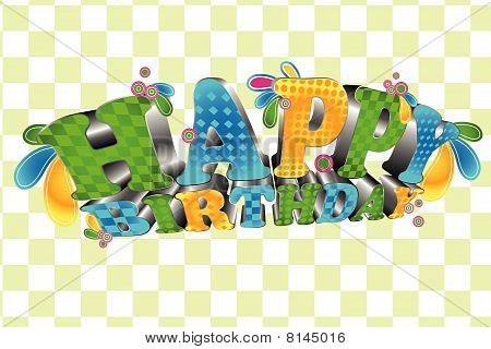 Happy Birthday; Glossy 3D type