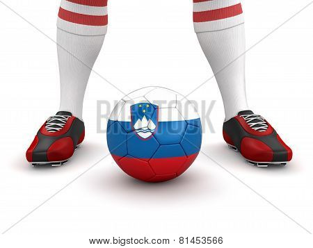 Man and soccer ball  with Slovene flag (clipping path included)