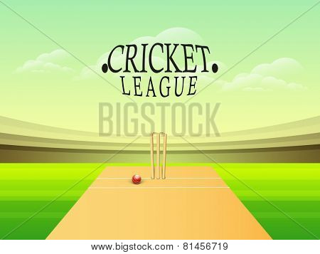 Glossy red ball with wicket stumps on stadium for Cricket League concept.