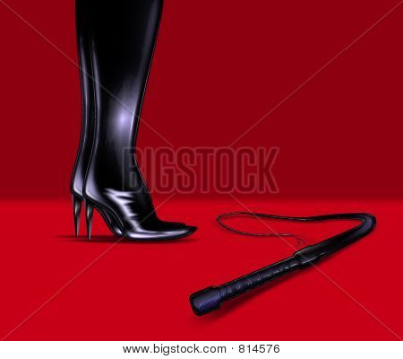 an illustration of leather boots and whip poster