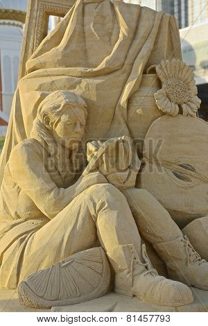 Atlantic City,NJ/USA-July 28,2014: Sand sculpting competition has evolved into a major performing arts attraction in Atlantic City, NJ. This piece of sand art was made by Michela Ciappini of Italy.