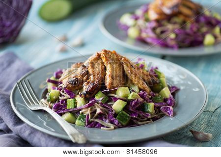 Cold Thai Chicken Cabbage Salad With Soba