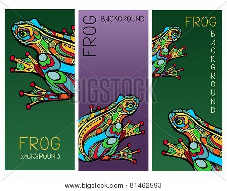 Set Of Cards With Abstract Frogs