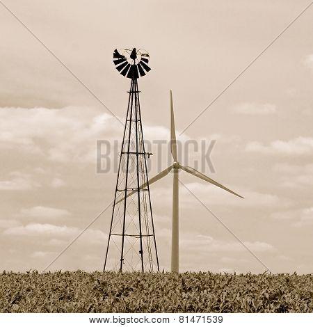 Vintage Windmill and Modern Wind Turbine