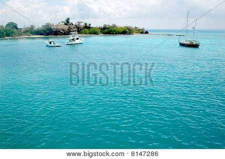 Sailboat In Caribbean Blue Water