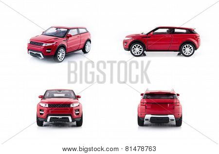 Red Car Toys Set Isolated On White Background