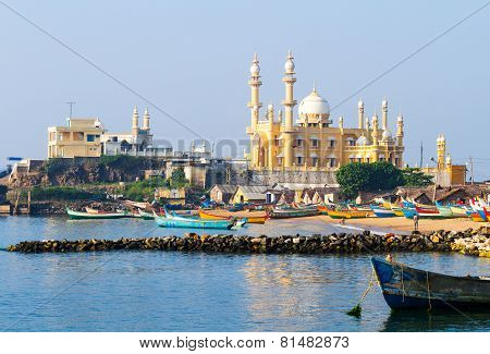 Fishing Harbour With Mosque In The Background (kerala, India)