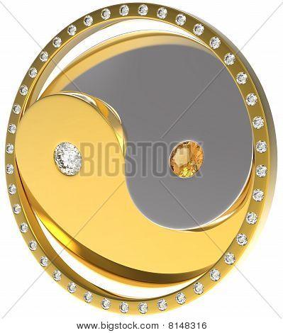 Rotating Ying Yang Jewel Sybmol. Gold And Diamonds