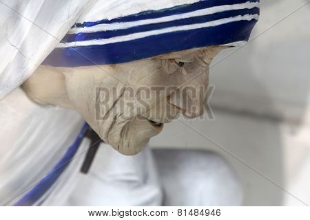KOLKATA, INDIA - FEBRUARY 11: Mother Teresa statue, Shishu Bhavan, one of the houses established by Mother Teresa and run by the Missionaries of Charity in Kolkata, India on February 11, 2014.