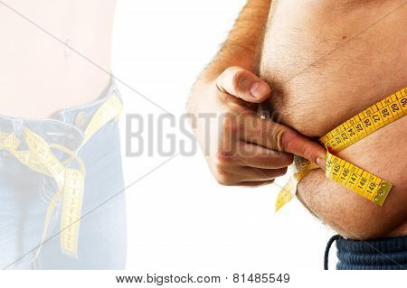 Big Man Measuring His Belly With A Measuring Tape