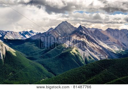 Scenic view of Rocky mountains range in Jasper NP Alberta Canada poster