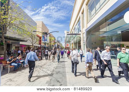 People walking along Rundle Mall in Adelaide, South Australia