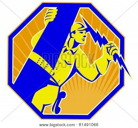 vector illustration of a telephone lineman electrician repairman climbing electric post holding lightning bolt set inside octagon done in retro style poster