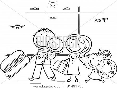 Family in the airport with thier luggage