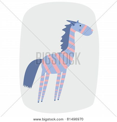 vector illustration of funny cartoon zebra