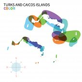 Abstract vector color map of Turks and Caicos Islands with transparent paint effect. For colorful presentation isolated on white. poster