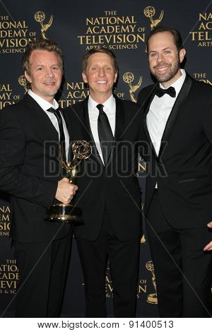 LOS ANGELES - APR 24: Casey Kasprzyk, Brad Bell, Anthony Ferrari at The 42nd Daytime Creative Arts Emmy Awards Gala at the Universal Hilton Hotel on April 24, 2015 in Los Angeles, California